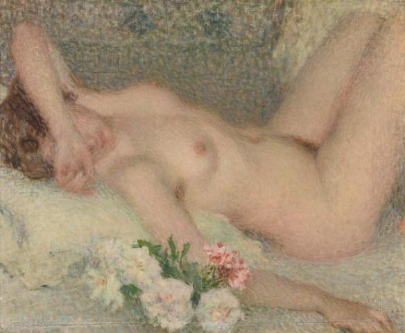 Ernest Laurent, Nu avec fleurs, 1910 © Musée des Beaux-Arts, Reims © photo : Christian Deuleeschauwer