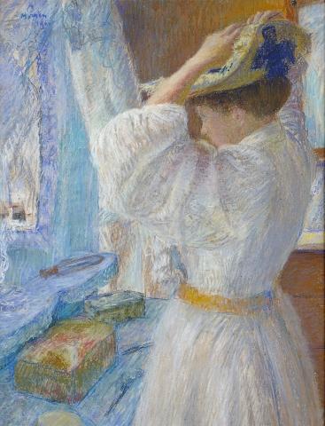 Morren, Femme épinglant son chapeau, 1901 © Collections du musée d'Ixelles - Bruxelles
