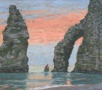 L'Aiguille d'Etretat, ciel rouge, Jean-Francis Auburtin